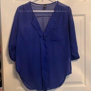 Blue sheer blouse